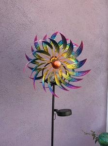 Tri-color flower Solar garden stake