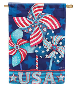 Patriotic Pinwheels house flag