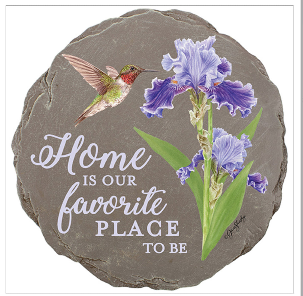Iris and Hummingbird Garden Stone (local delivery only)