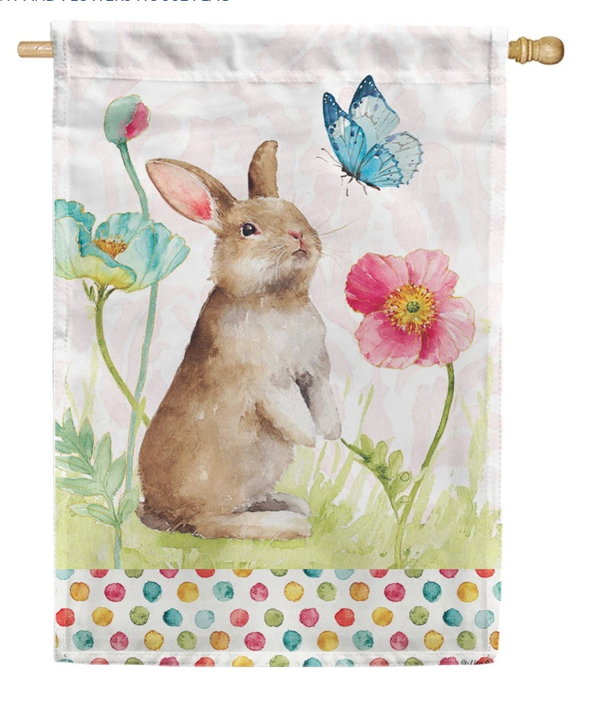 Bunny and Flowers house flag