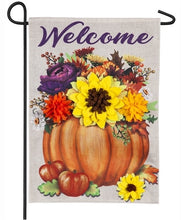Load image into Gallery viewer, Floral Pumpkin Burlap Flag