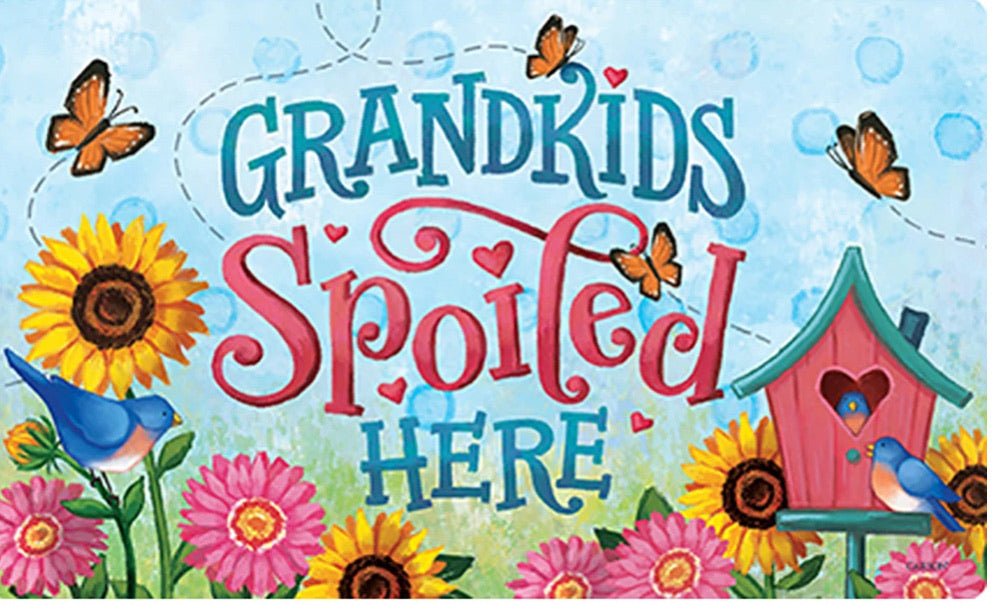 Grandkids Spoiled Here door mat (local delivery only)