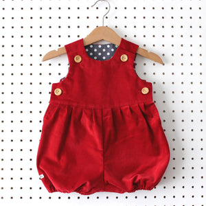 Deep Red Corduroy Romper