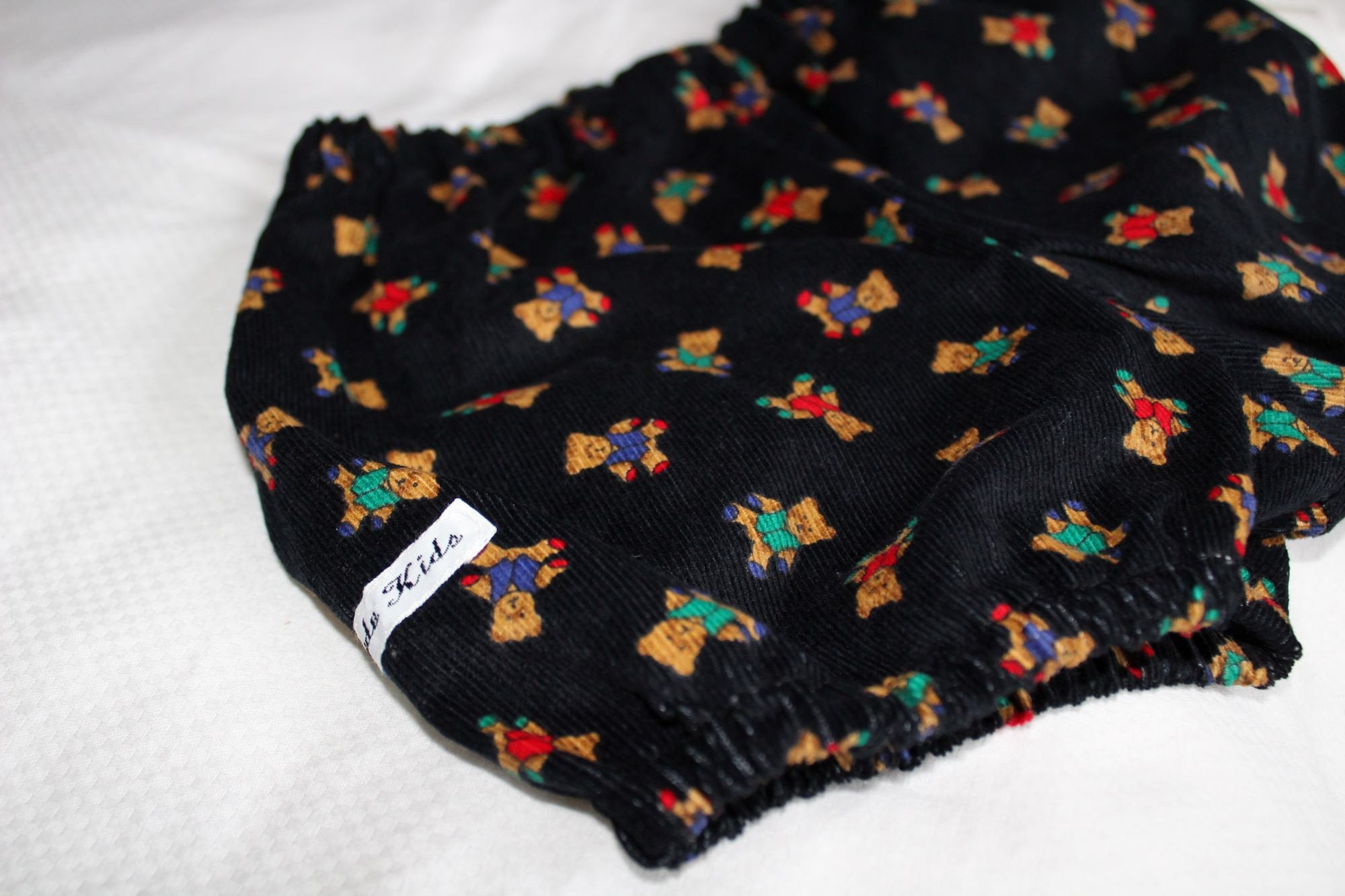 Black Teddy Bear Print Corduroy Bloomers