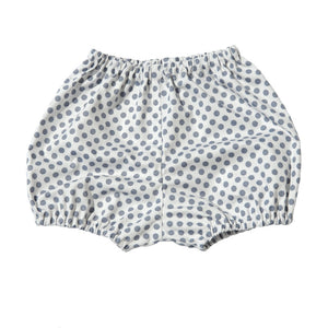 White Bloomers with Grey Polka Dot Print