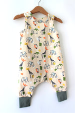 Load image into Gallery viewer, Beige Safari Print Organic Cotton Harem Romper