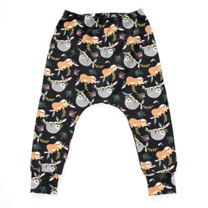 Charcoal Grey Sloths Print Harem Leggings