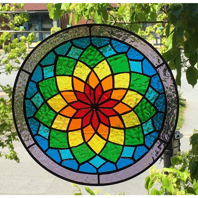 Stained Glass Small Flower Of Life Rainbow