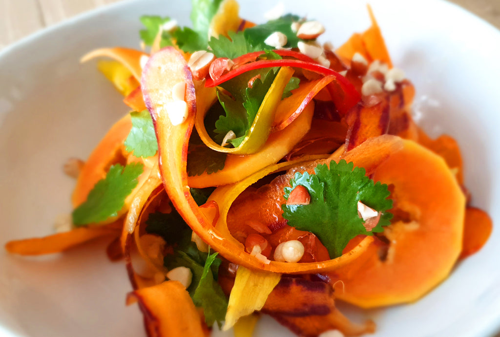 Baby Rainbow Carrot Salad with Papaya and Peanuts