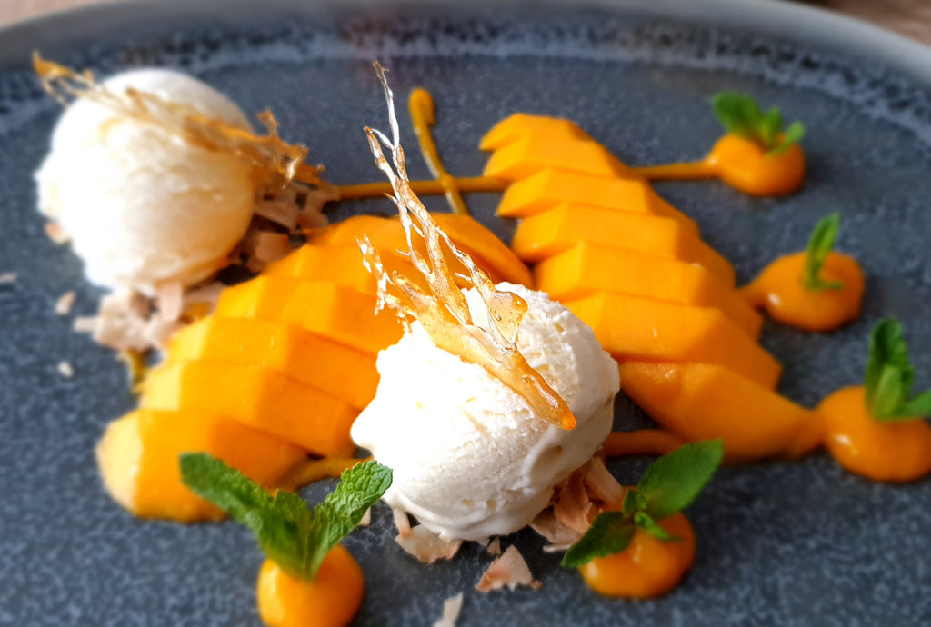 Kesar Mango and Coconut with Vanilla Ice Cream