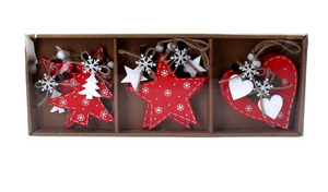 Box of 6 Wood Decs (11cm) - Red Tree/Heart/Star