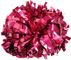 1 pc Cheerleading Pom Pom Metallic With Baton Handle 4''