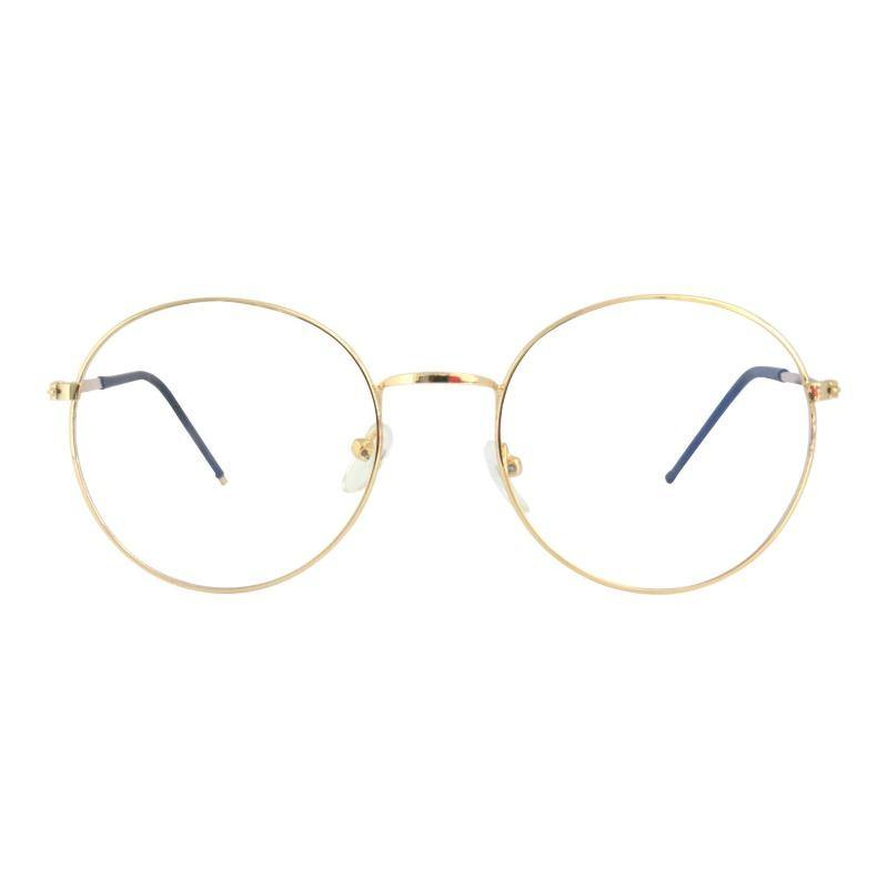 Artemis Round Metal Frame Blue Light Glasses in Gold