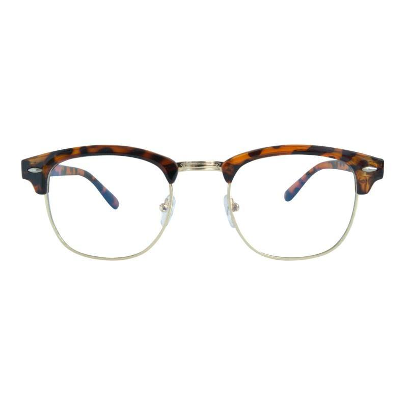 Poseidon Half Rim Blue Light Glasses in Tortoise-Forward Facing