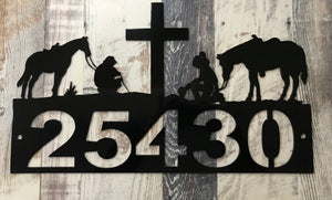 Cowboy Cowgirl praying house numbers oil rubbed bronze