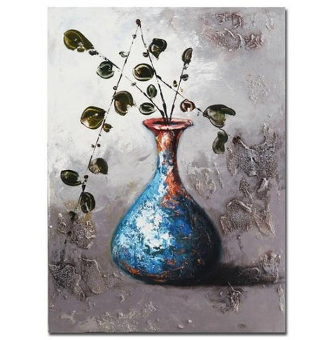 Canvas - Framed Acrylic Painted Flower Vase Valuezy Australia