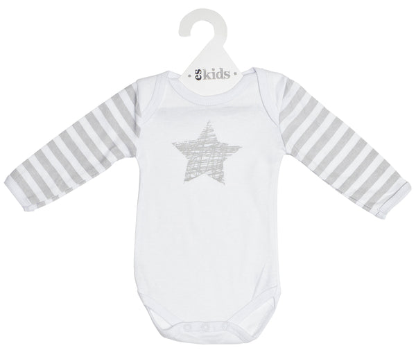 Bodysuit Long Sleeve - White and Silver Scribble Star Valuezy