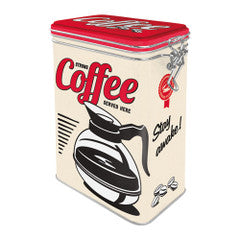 Nostalgic Storage Tin - Clip Top Coffee Served Here Valuezy