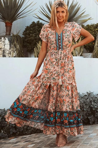 DEV0618 Dress Turquoise Brown Orange BOHO Isabella Valuezy Australia