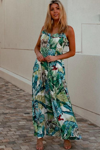 DEV0014  Green blue Floral Dress BOHO Isabella Valuezy Australia