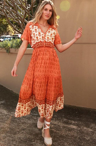 DEV0690 Dress Boho Orange Dreamcatcher  Valuezy Australia