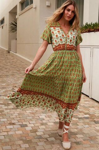 DEV0691 Dress Green Brown Boho Isabella Dreamcatcher Valuezy Australia