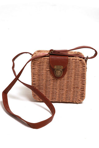 EV1082 Tan Square Straw Rattan Bag Valuezy Australia