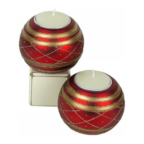 Glass Bauble Candle holder - Red + Gold Valuezy Australia