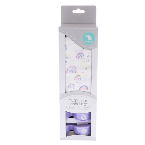 Boxed Muslin Wrap with Pram Pegs - Rainbow  2 Valuezy Australia
