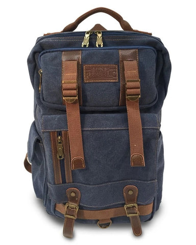 Men's Republic Square Washed Canvas Backpack Valuezy