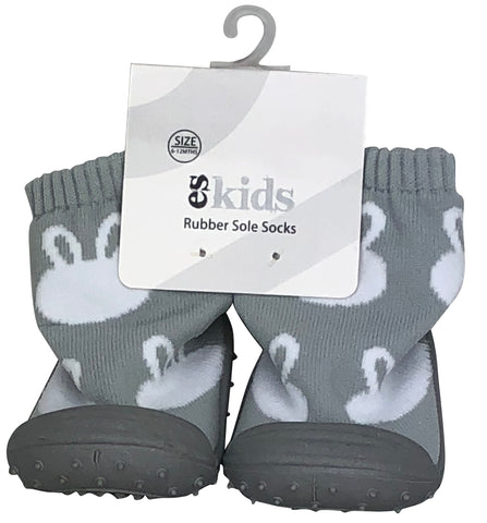 Baby Rubber Soled Socks, 18-24mths - Grey Bunny Valuezy