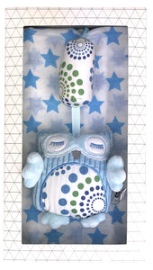 Baby Chime Toy + Muslin Wrap Gift Box - Blue Valuezy