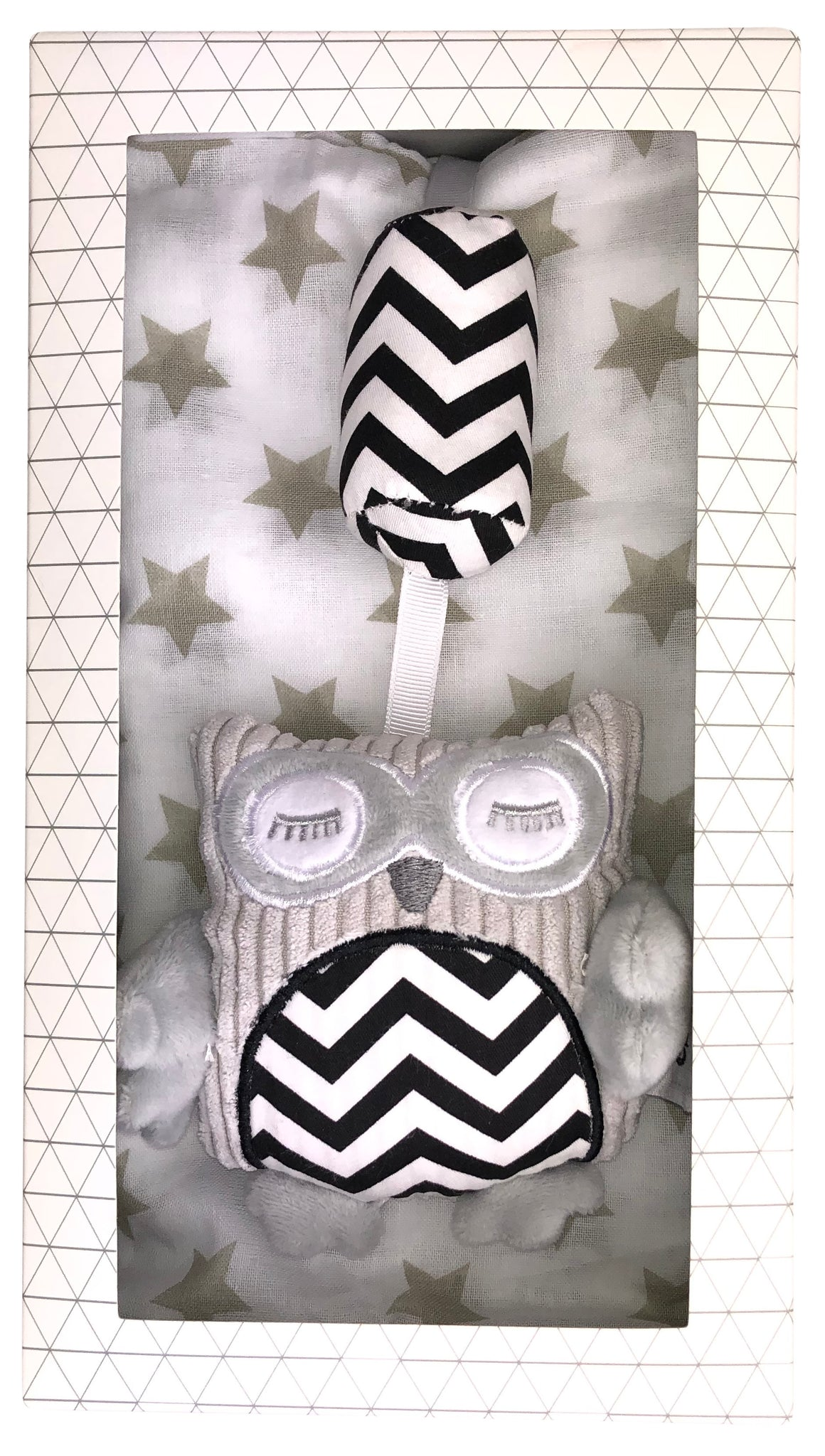 Baby Chime Toy + Muslin Wrap Gift Box - Grey Valuezy