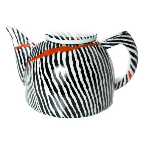 Indigenous art designed by Aboriginal artist Judy Watson black white red Teapot