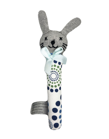 Baby Toy - Bunny Rattle Blue Green Pattern Valuezy