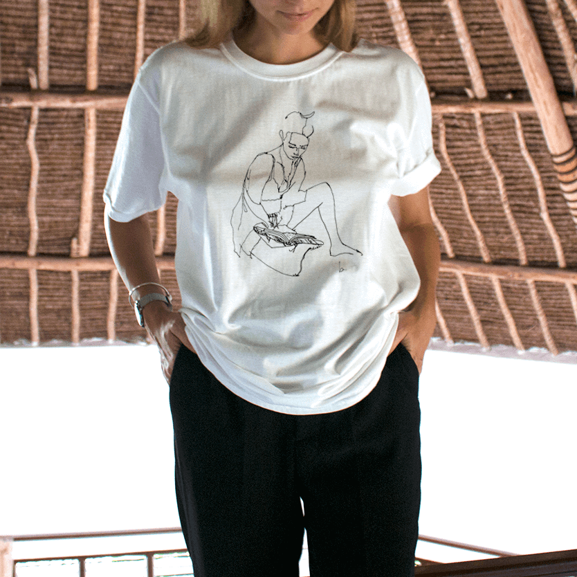 """GIRL READING"" DRAWING TEE"