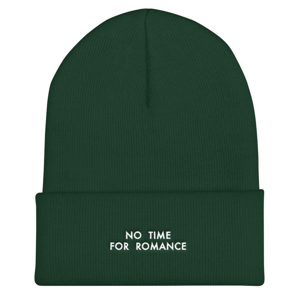 """NO TIME FOR ROMANCE"" EMBROIDERED BEANIE"