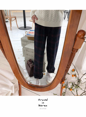ARTIST PLAID VELVET PANTS