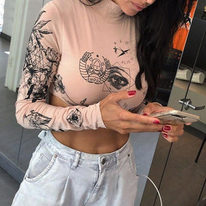 """Aesthetic Full-sleeve"" CROP TOP"