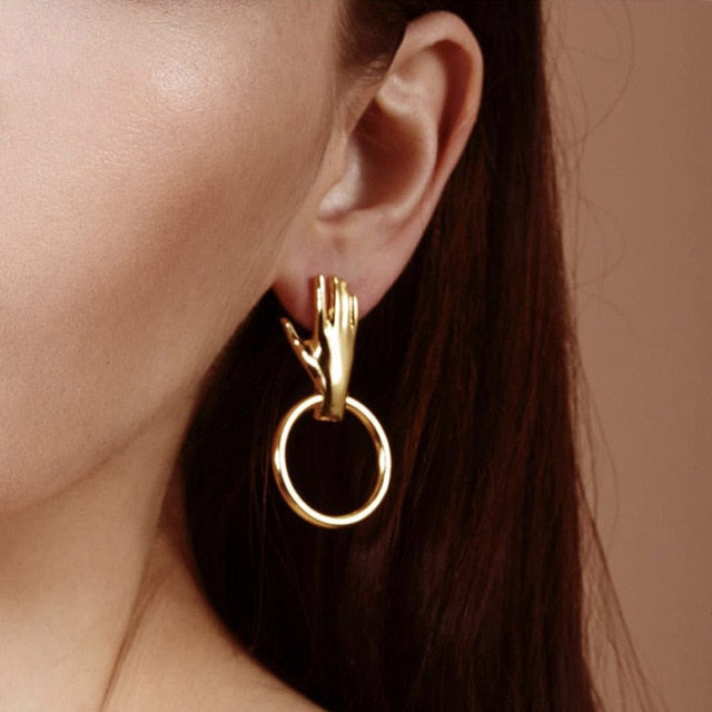 """HAND RING"" EARRINGS"
