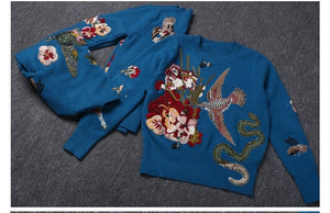 """BEADING BIRD"" KNITTED PULLOVERS"
