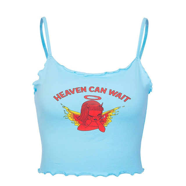 """Heaven can wait"" Crop top"