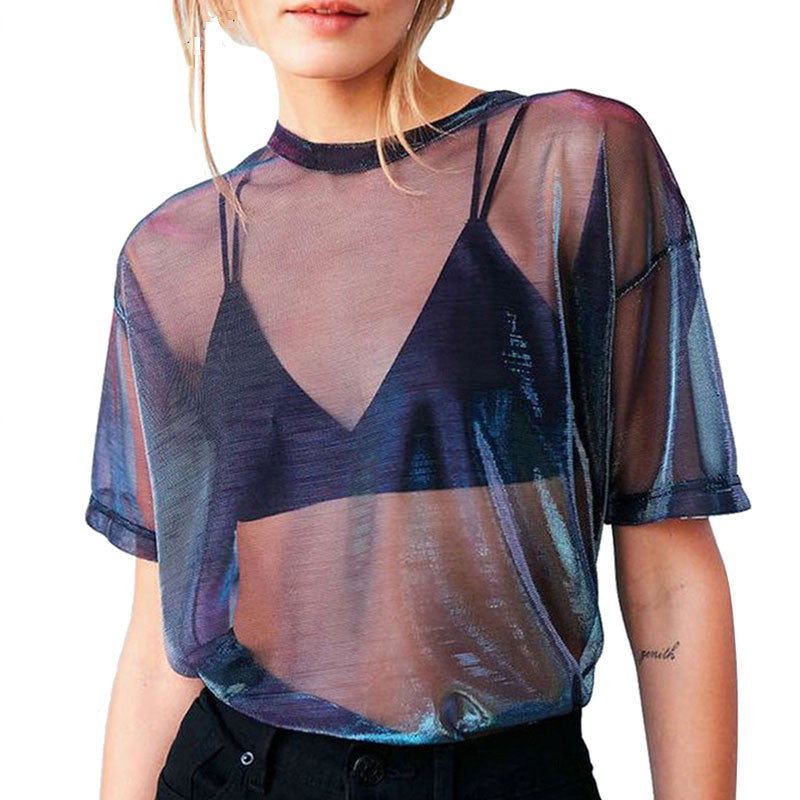 """Mesh Hollow Out"" CROP TOP"