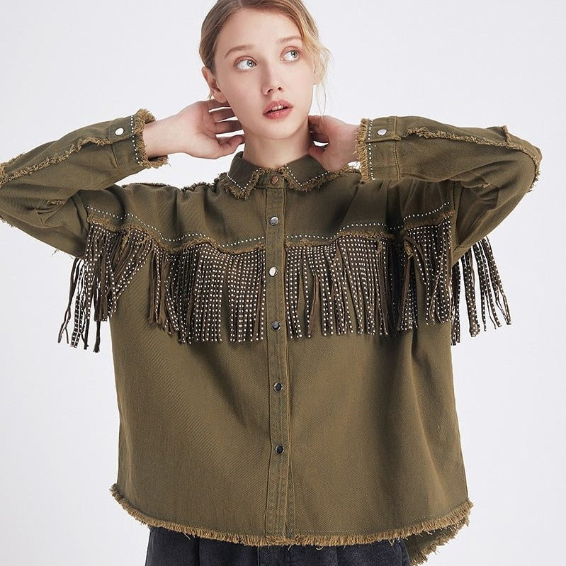 """Fringe Denim"" SHIRT"