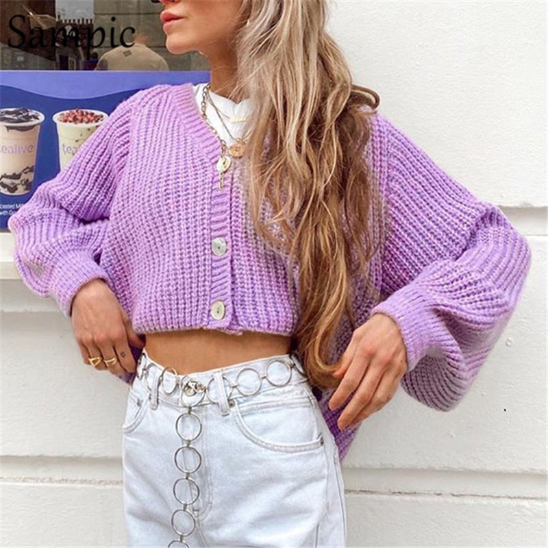 """Knitted Cropped Cardigan"""