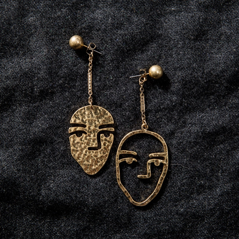 ARTY ABSTRACT FACE PORTRAIT EARRINGS