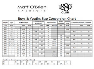 1880 Club Boys size conversion chart