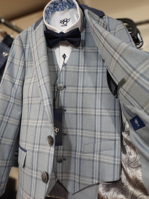 1880 Club Boys Mix to Fit Suit Jacket Blue Check