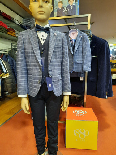 1880 Club Boys Junior Jacket - Tivoli blue check
