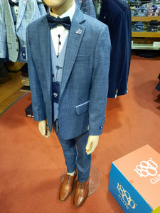 1880 Club Boys Junior Waistcoat Blue with Genaro blue suit